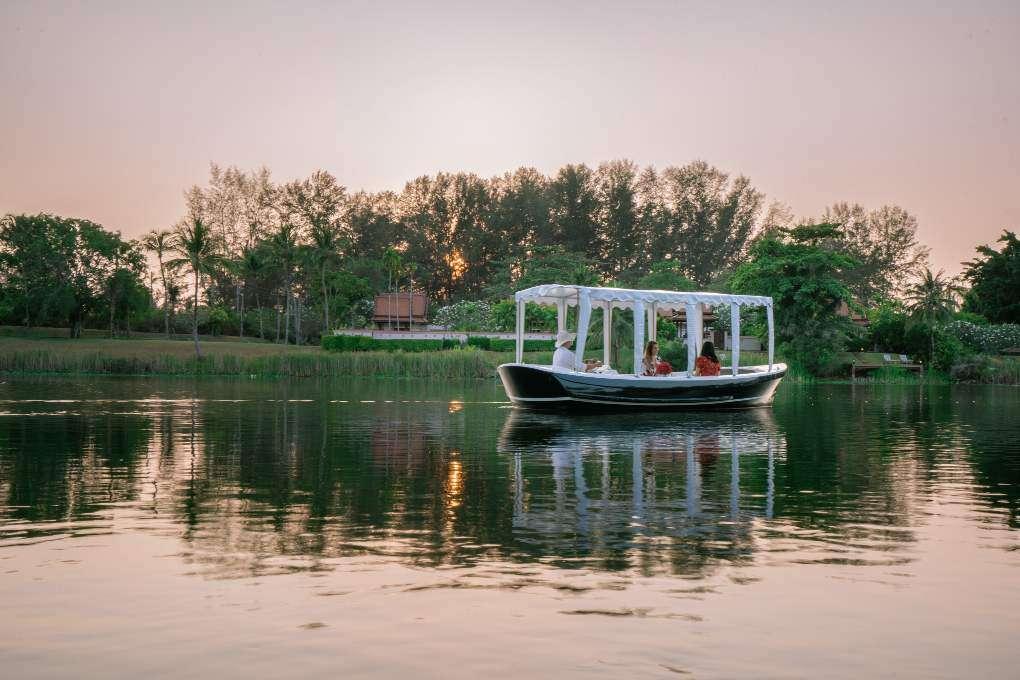 Picnic on a boat sailing on a lagoon from the Banyan Tree Phuket