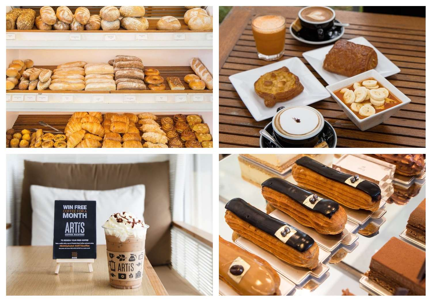 Collage of products that can be bought at BAKE Phuket in the Boat Avenue area near Bang Tao Beach