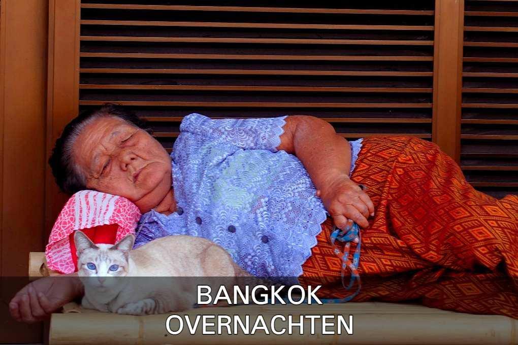 Slapende vrouw met kat aan een touwtje in Bangkok
