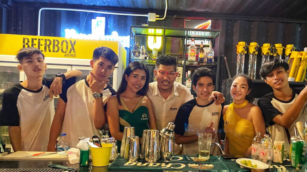 The team at BeerBox Avenue near Bang Tao Beach on Phuket