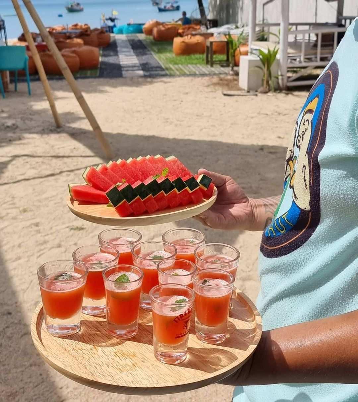 Shots and watermelon at Hugo Hub on Bang Tao Beach on Phuket
