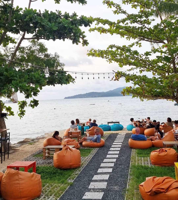 Beanbags at Hugo Hub on Bang Tao Beach on Phuket