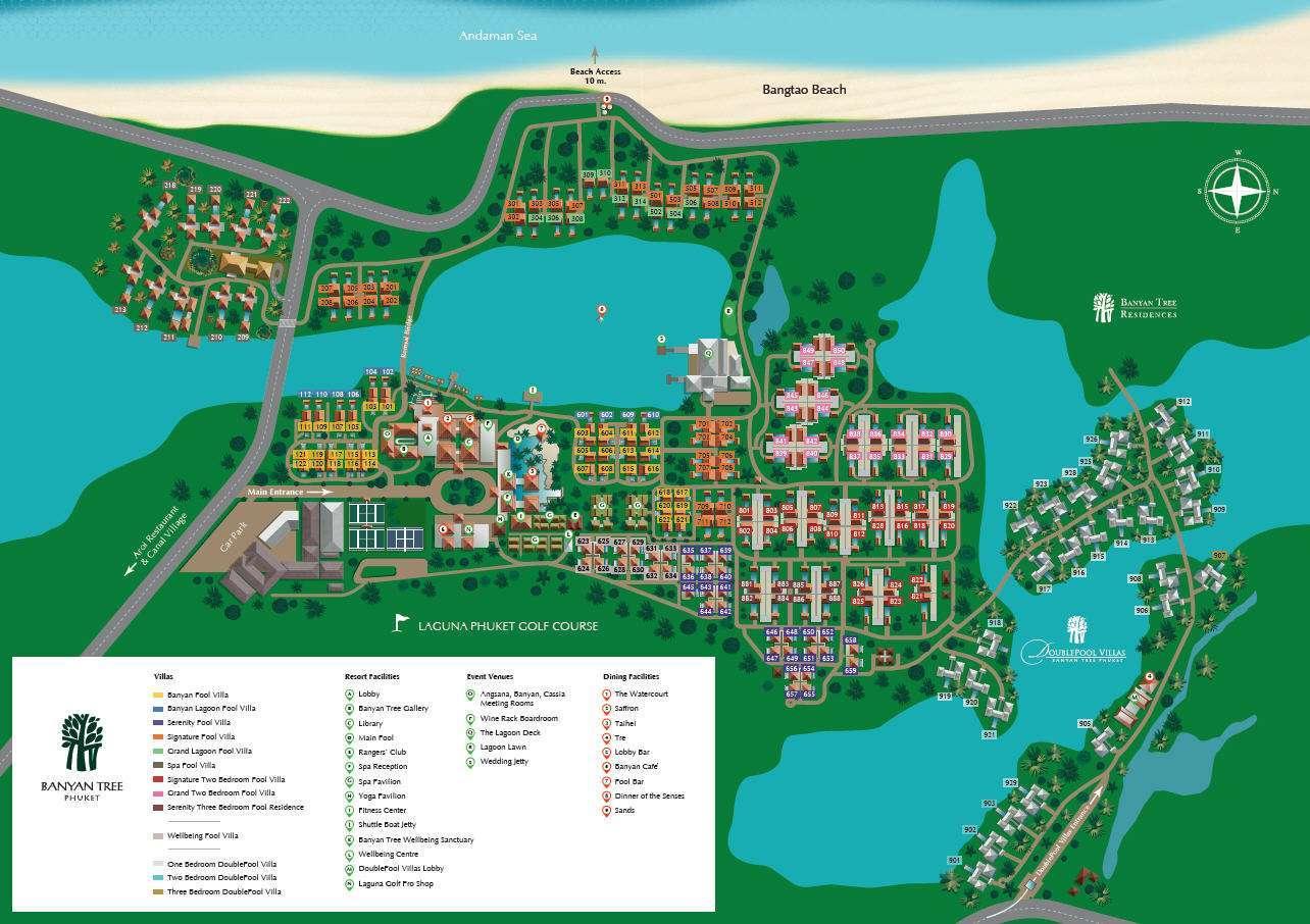 The map of Banyan Tree Phuket near Bang Tao Beach