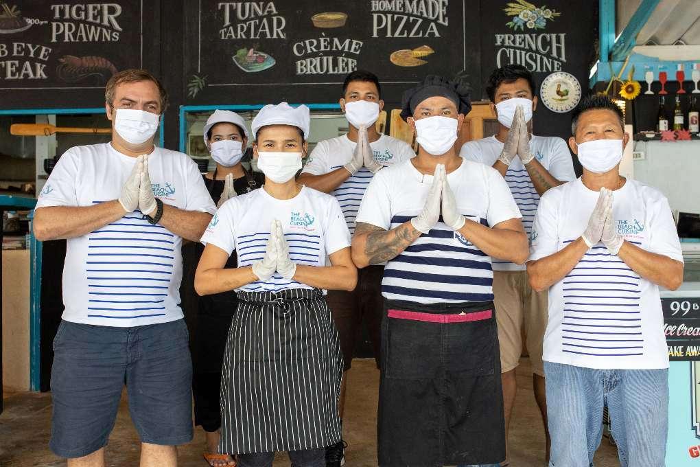The staff at The Beach Cuisine at Bang Tao Beach on Phuket
