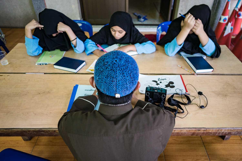 Moslims in Bangkok studeren Engels