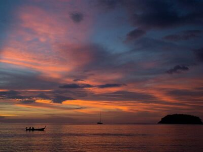 Sunset Over Kata Beach On Phuket, Thailand