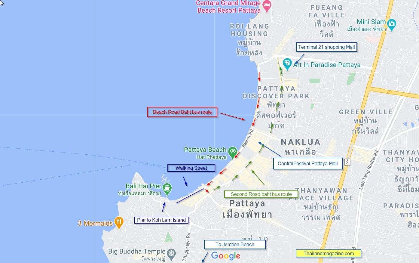 baht bus / Songthaew route kaart Pattaya