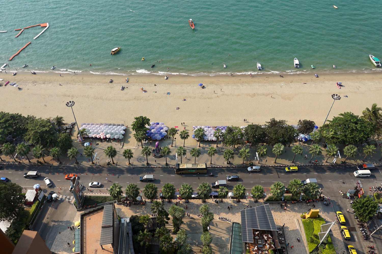 aerial photo beach and road along Pattaya Beach