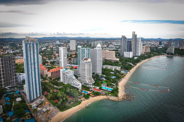 Pattaya Beach, aerial view of beach and tall buildings