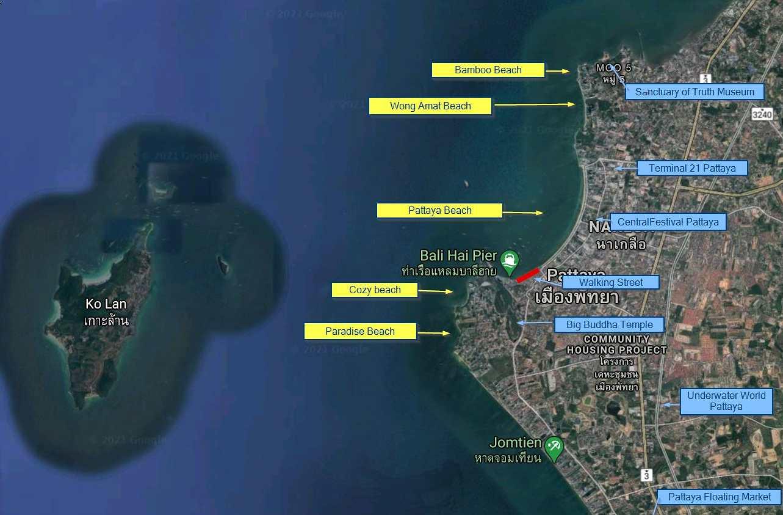 Map of the Pattaya beaches