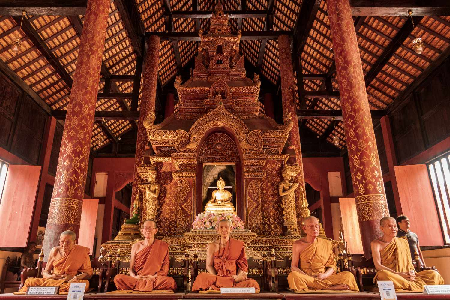 Statues of monks that look just like the real thing in Chiang Mai