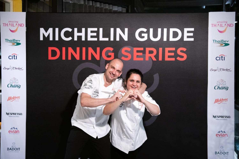 Jim Ophorst en Garima Arora tijdens een Michelin Gids diner serie in Thailand