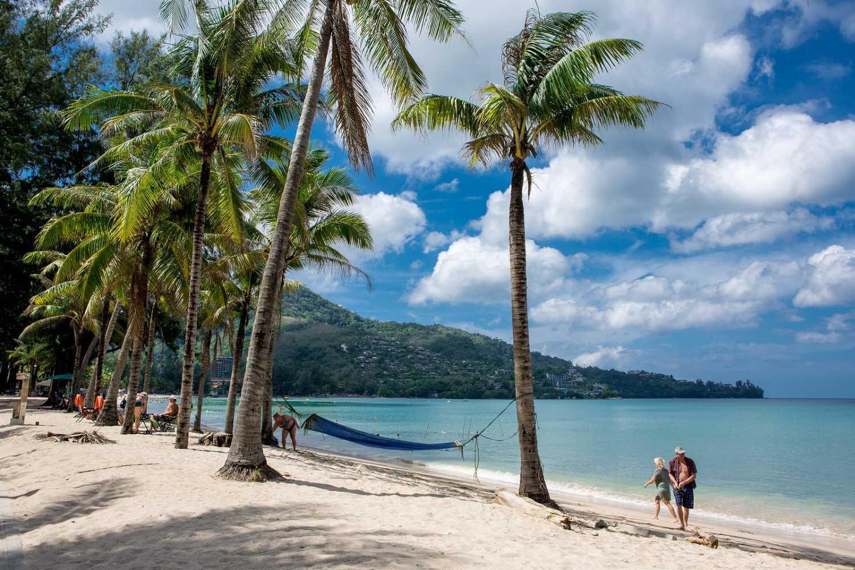 Palm trees on the beach of Kamala Beach on Phuket, Thailand