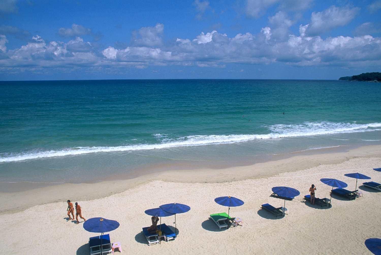 Parasols on the beach of Kamala Beach, phuket