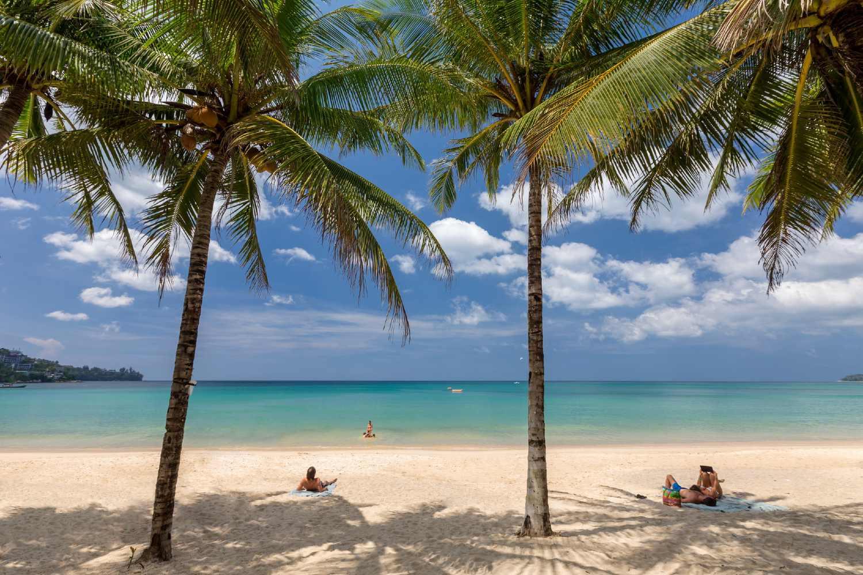 The beautiful beach and calm sea of Kamala on Phuket, Thailand