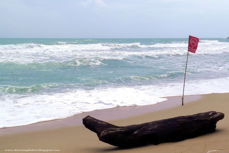 Red flag on Kamala Beach, Phuket in Thailand