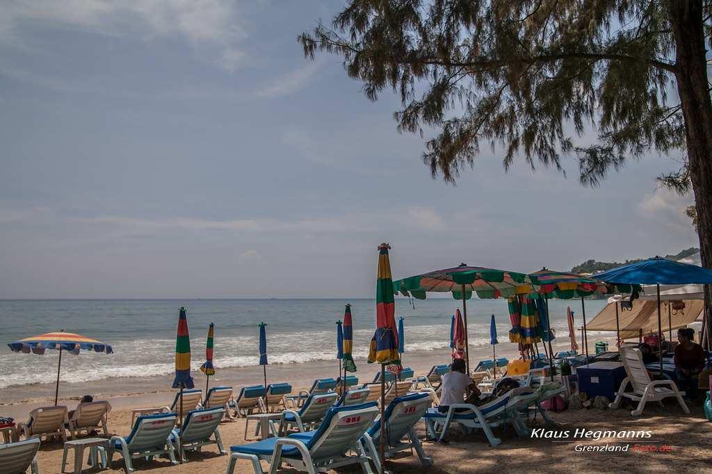 Sunbeds and umbrellas on Kamala Beach, Phuket