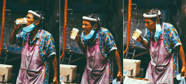 Drinking man near BTS Sala Saeng in Bangkok