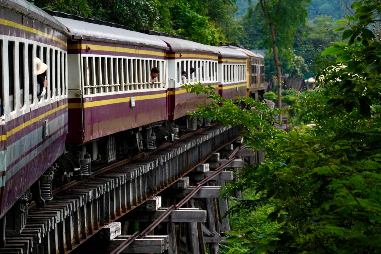 Thai Burmese railroad in Kanchanaburi, Thailand