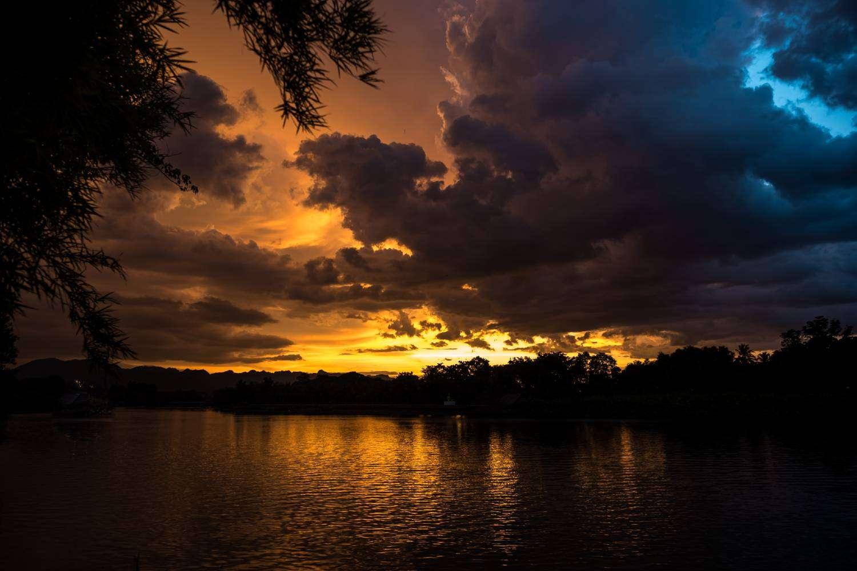 Sunset over the River Kwai in Kanchanaburi