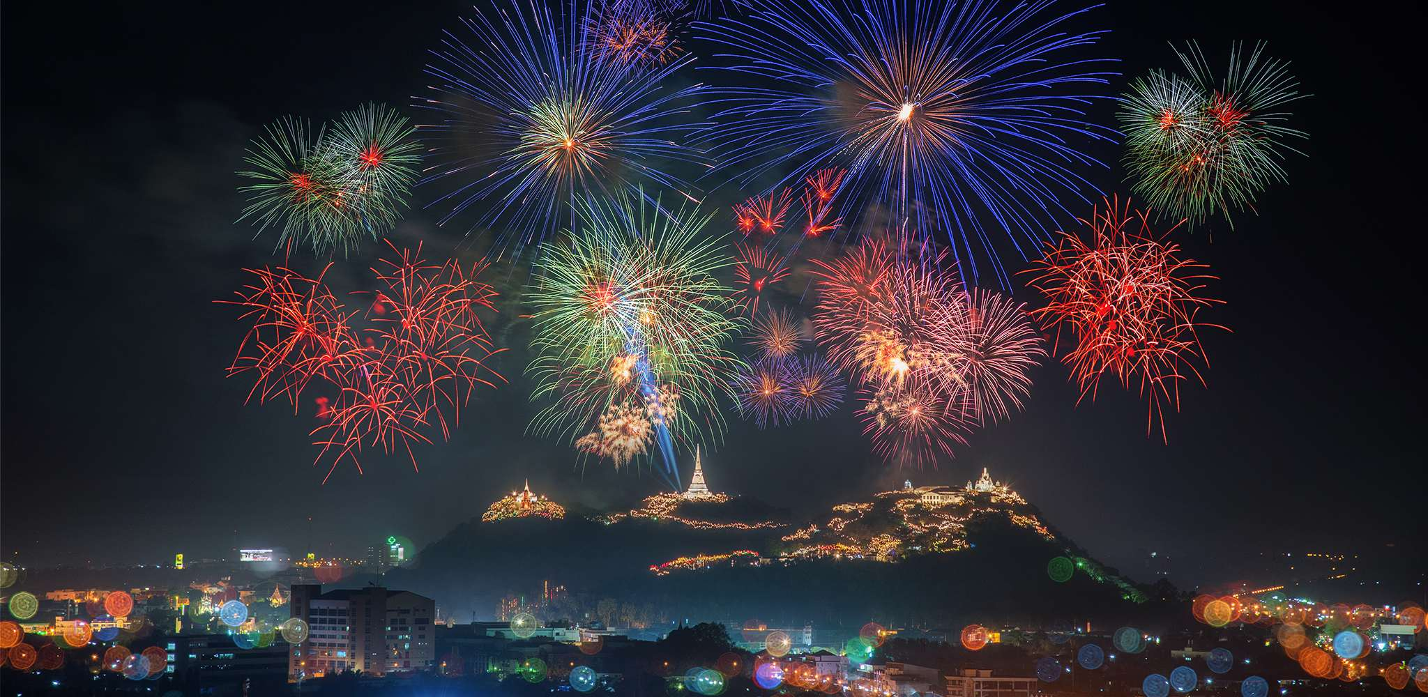 Kao Wang fireworks, the annual festival of Phetchaburi province in Thailand