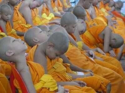 Sleeping Buddhist Children At The Wat Phra Dhammakaya In Thailand