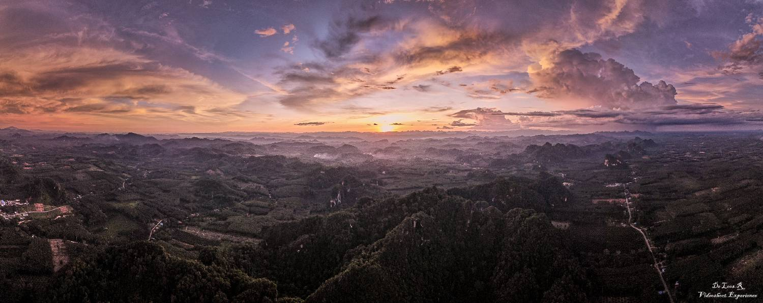 Sunset over Surat Thani in Thailand
