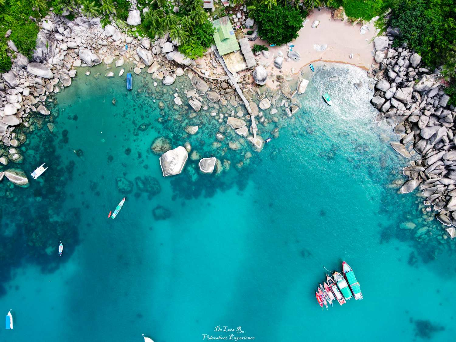 Coast of Koh Tao seen with a drone