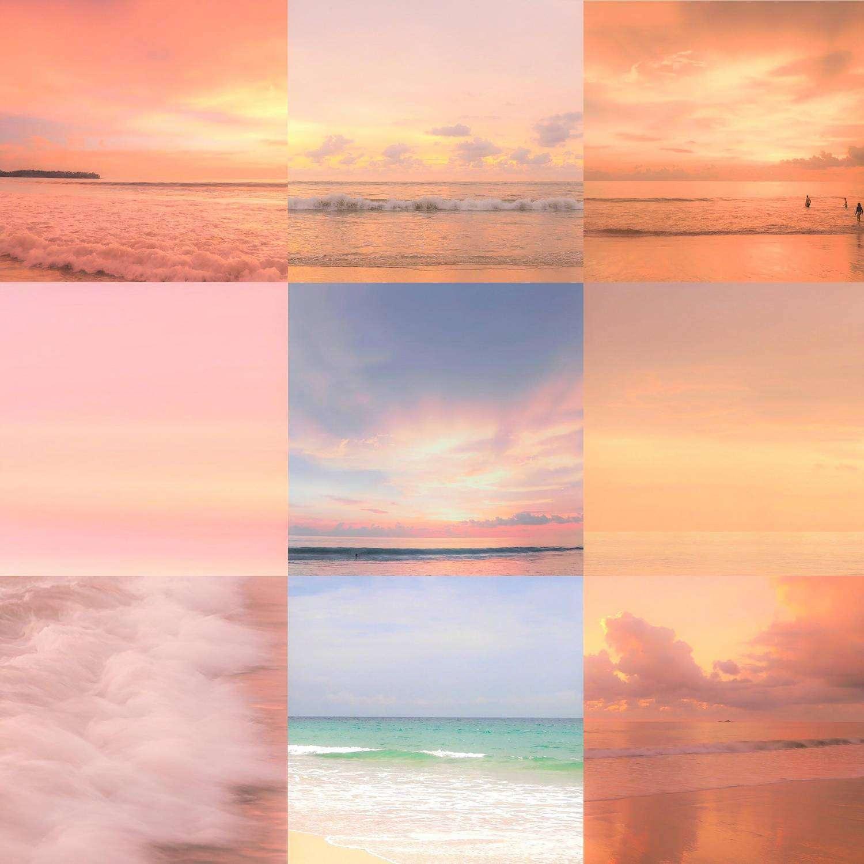 Een collage van verschillende zonsondergangen in Thailand
