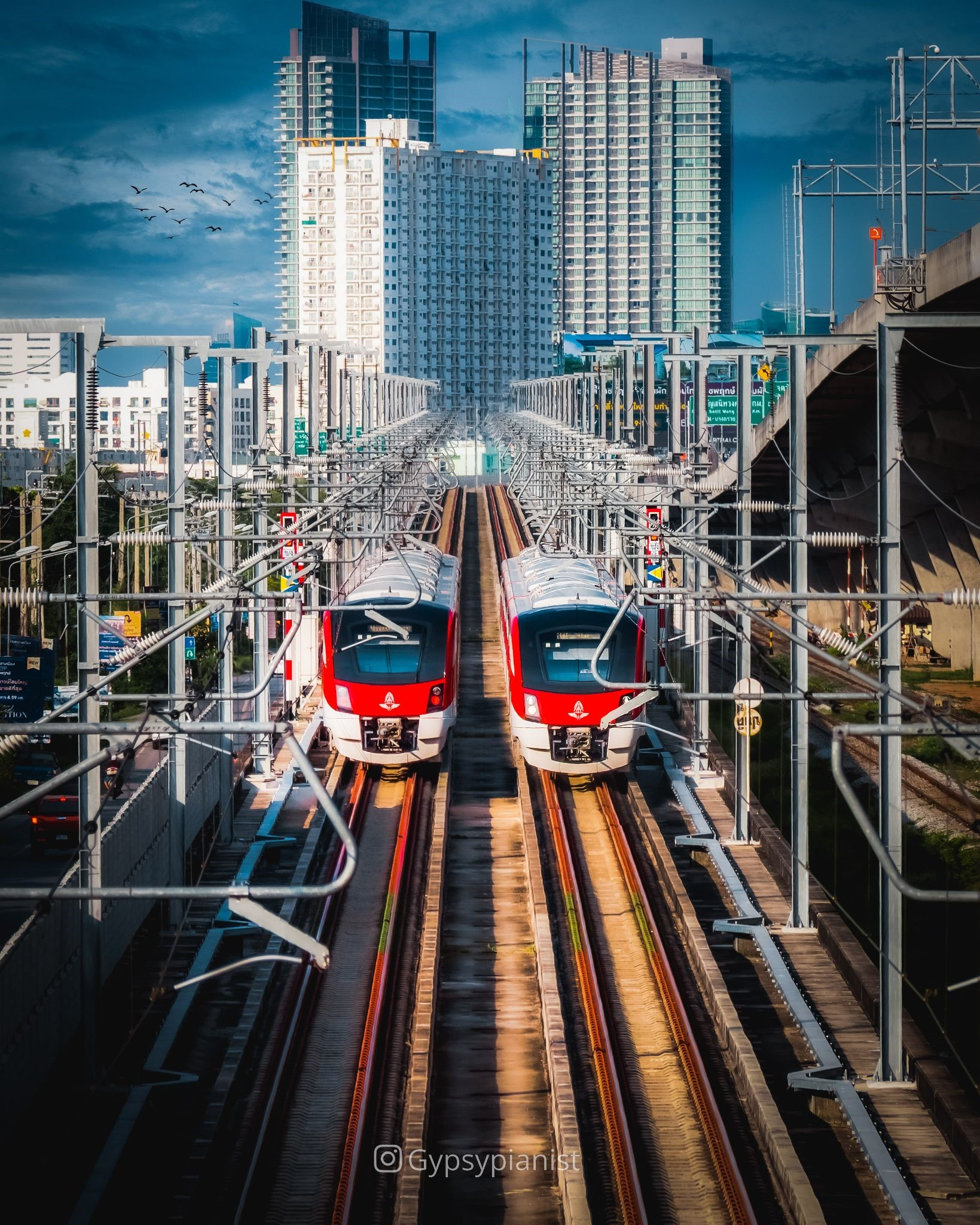 Two exactly the same trains in Bangkok