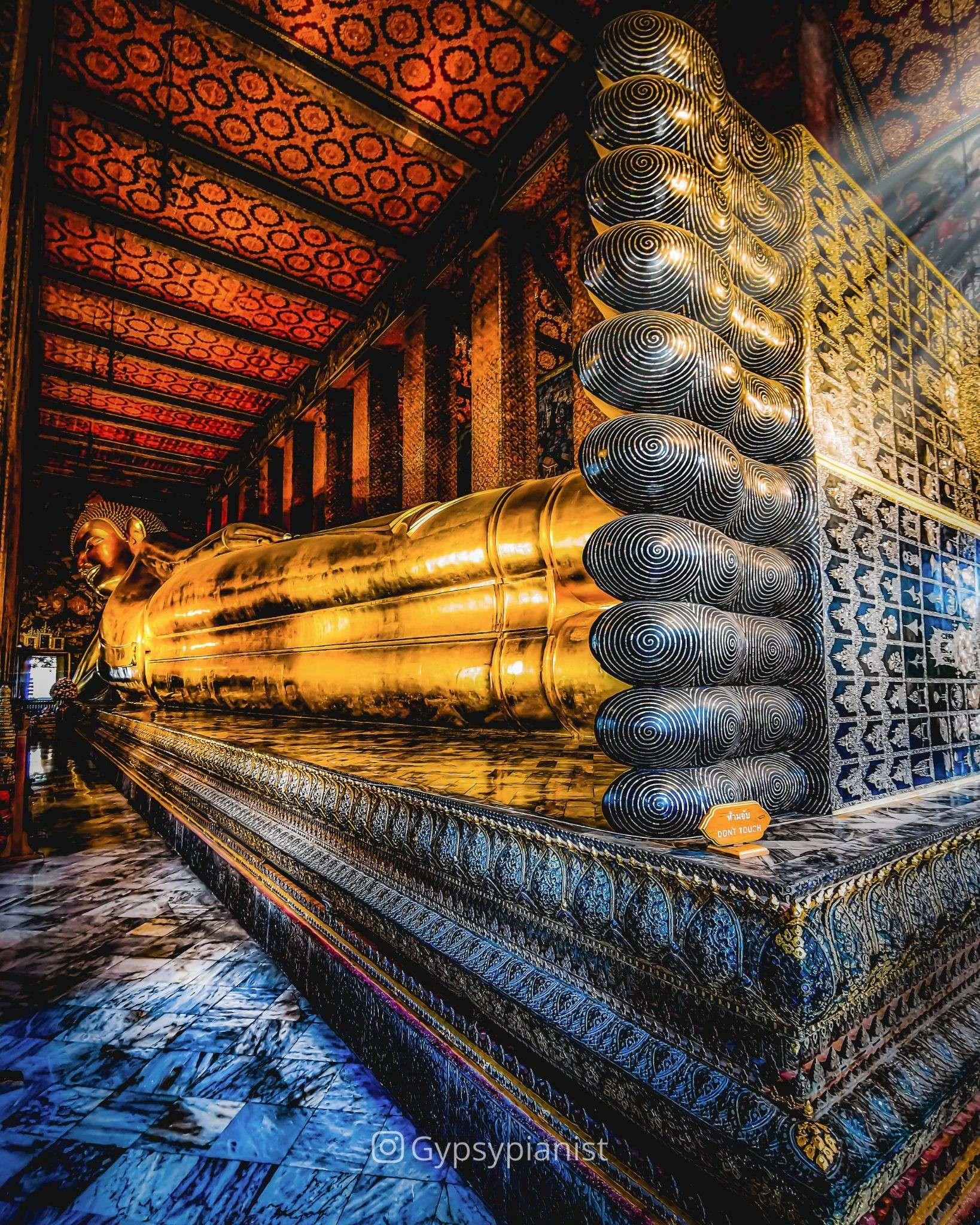 The reclining Buddha at the Wat Pho temple in Bangkok