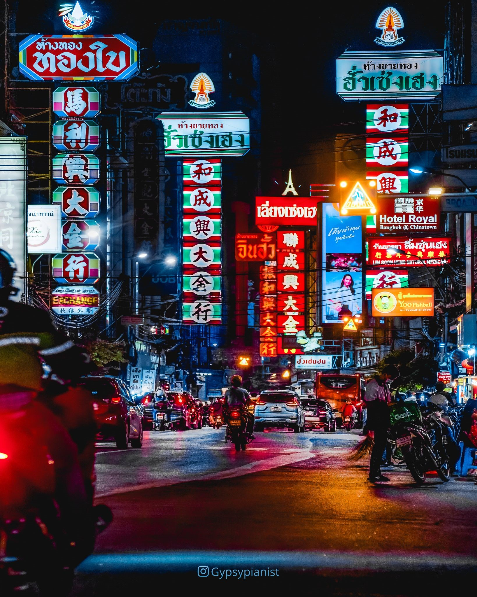 Chinatown in Bangkok during the evening